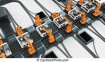 process., fait boucle, hd, business, convoyeur, beaucoup, animation., cases., bras, 4k, ultra, automatisé, montage, avancé, robotique, informatique, 3d, technologie, concept., 3840x2160., ceinture