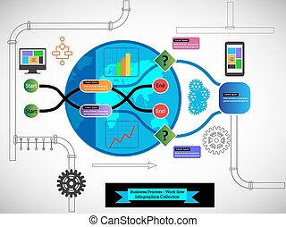 Process Flow Infographics Collections - Collection of...