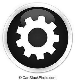 Process icon black glossy round button