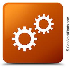 Process icon brown square button