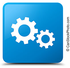 Process icon cyan blue square button