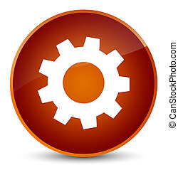 Process icon elegant brown round button