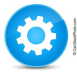 Process icon elegant cyan blue round button