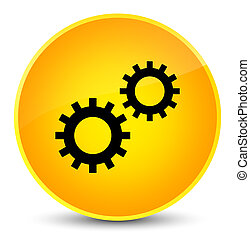 Process icon elegant yellow round button