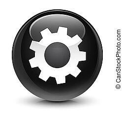 Process icon glassy black round button