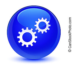 Process icon glassy blue round button