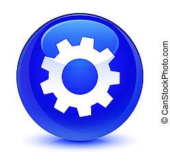 Process icon glassy blue round button