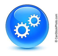 Process icon glassy cyan blue round button