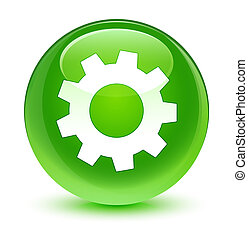 Process icon glassy green round button