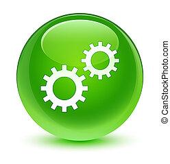 Process icon glassy green round button