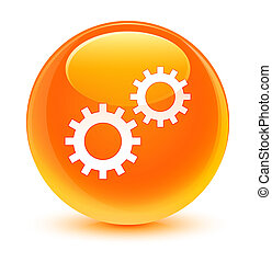 Process icon glassy orange round button