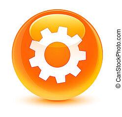 Process icon glassy orange round button