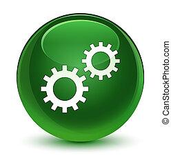 Process icon glassy soft green round button