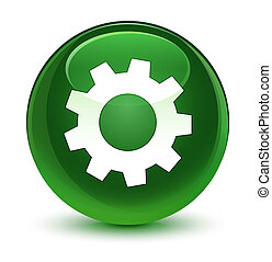 Process icon glassy soft green round button