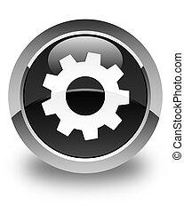 Process icon glossy black round button