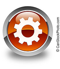 Process icon glossy brown round button