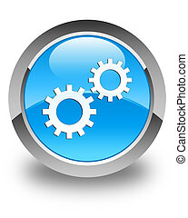 Process icon glossy cyan blue round button