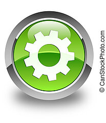 Process icon glossy green round button 2