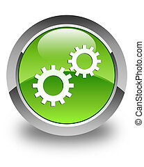 Process icon glossy green round button 3
