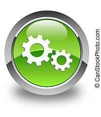 Process icon glossy green round button