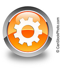 Process icon glossy orange round button 2