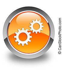 Process icon glossy orange round button 3