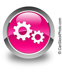 Process icon glossy pink round button