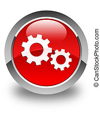 Process icon glossy red round button