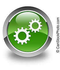 Process icon glossy soft green round button