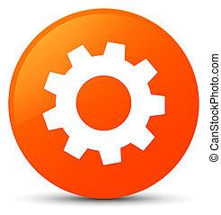 Process icon orange round button