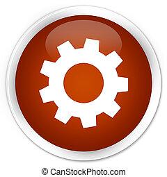 Process icon premium brown round button