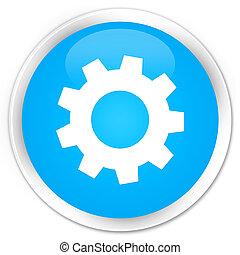 Process icon premium cyan blue round button