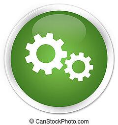Process icon premium soft green round button