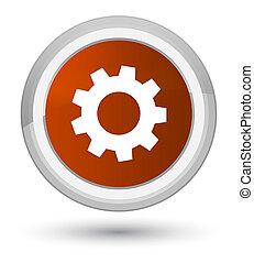 Process icon prime brown round button