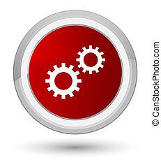Process icon prime red round button