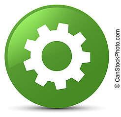 Process icon soft green round button