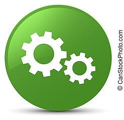 Process icon soft green round button