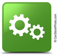 Process icon soft green square button