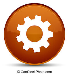 Process icon special brown round button