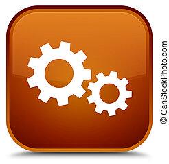 Process icon special brown square button