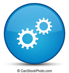 Process icon special cyan blue round button