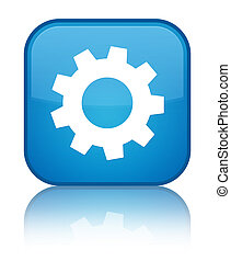 Process icon special cyan blue square button