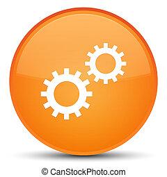 Process icon special orange round button