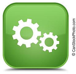 Process icon special soft green square button