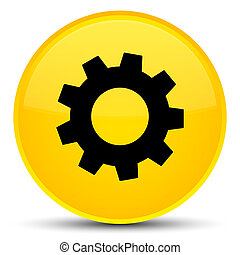 Process icon special yellow round button