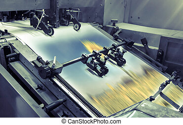 process in a modern printing house