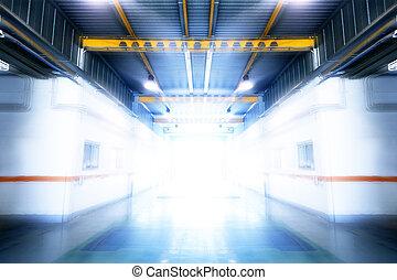process., interior, edifício industrial