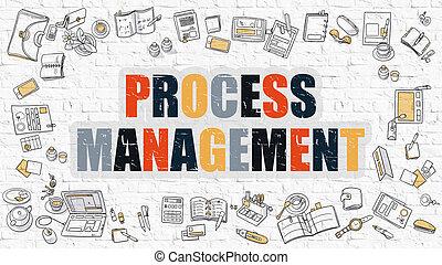 Process Management in Multicolor. Doodle Design.