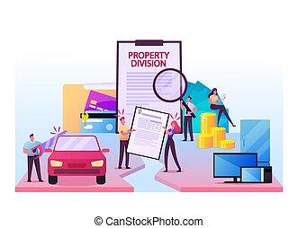 process., marido, resolución, propiedad, caracteres, esposa, conflicto, dividir, divorcio, ayuda, división, servicios legales