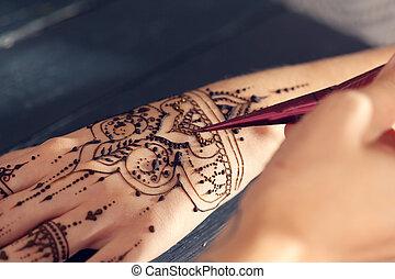Process of applying mehndi on female hands